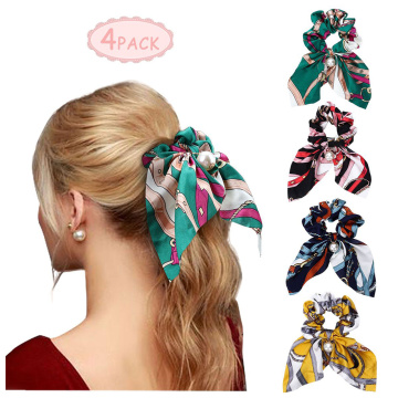 Scarf Scrunchies Pearls Satin Hair Ties