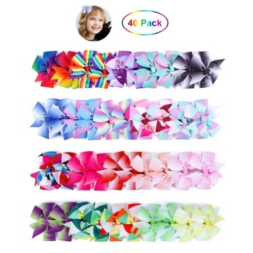 Baby Grosgrain Hair Bow Clips 40P