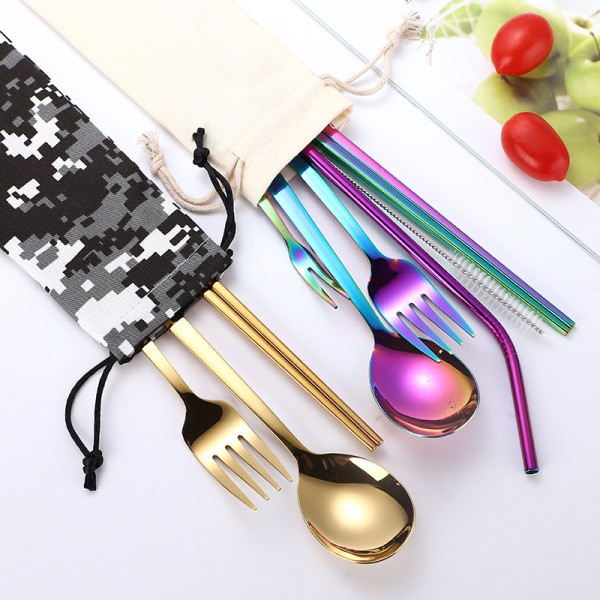 Cloth Bag Package Metal Straw Cutlery Set Flatware
