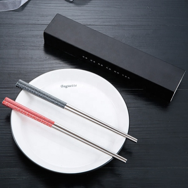 Food Grade Stainless 2 Pairs Chopsticks With Box