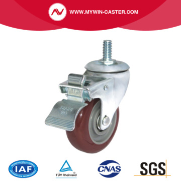 Brake Thread Stem Industrial Caster Rubber Wheel
