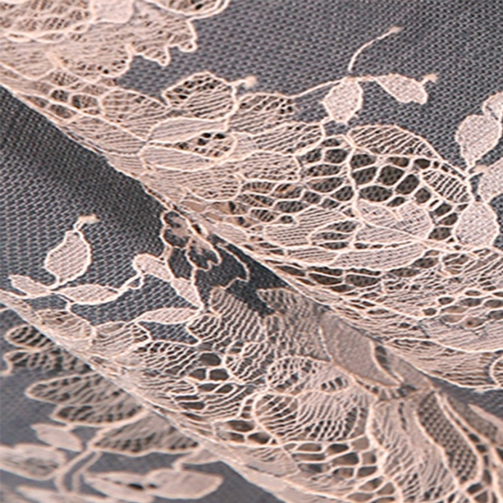 Beige Corded Lace Chantilly Eyelash Lace
