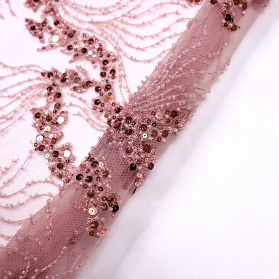 Dirty Pink Sequin Embroidery Mesh Lace