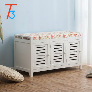 Wooden Storage Bench Chest cabinet with cushion seat for shoe change
