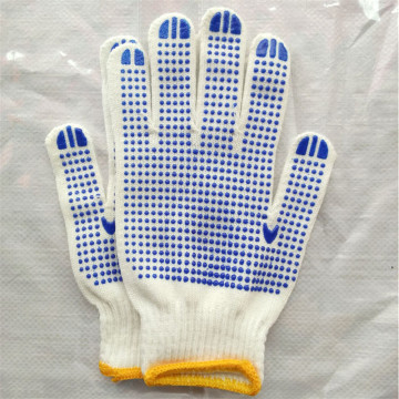 Cheap PVC Dotted White Cotton Work Glove