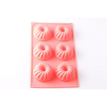 6 capacity flower silicone baking mold