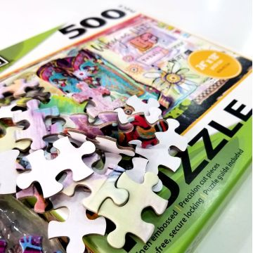 Custom high quality embossed color paper puzzle game