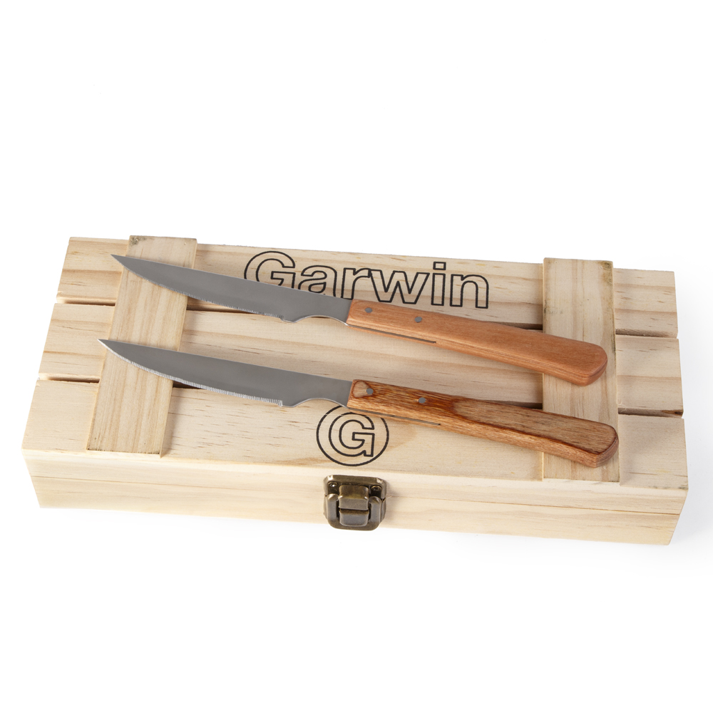 serrated steak knife with wood handle