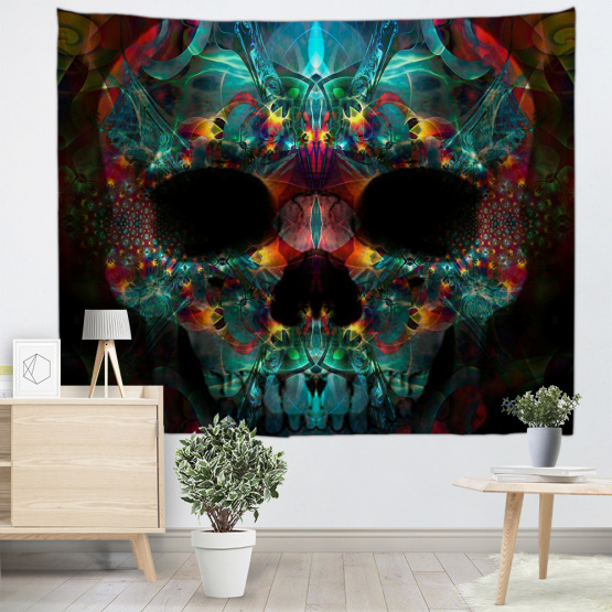 Skull Tapestry Spooky Skeleton Wall Hanging Mandala Hippie Tapestry for Livingroom Bedroom Home Dorm Decor