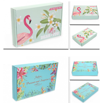 Flamingo pattern corrugated shipping box