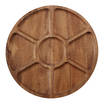 Round wooden food tray
