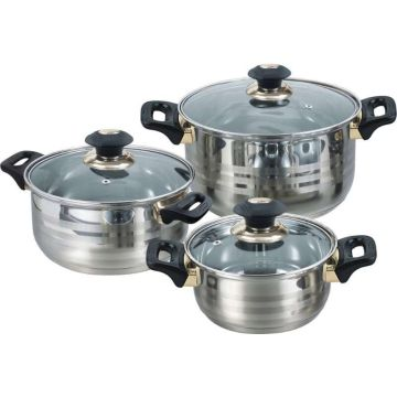 6pcs gold plated saucepot cookware set
