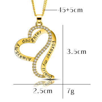 Mother's Day Gold and Silver Chic Mother Daughter Love Heart Pendant MOM Necklace