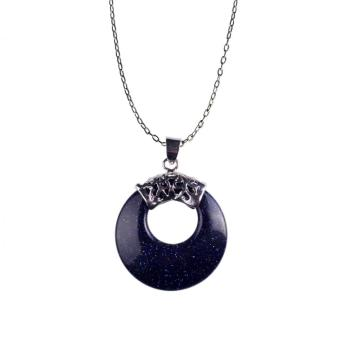 Men Silver Plated Healing Goldstone Chain Pendant Necklace