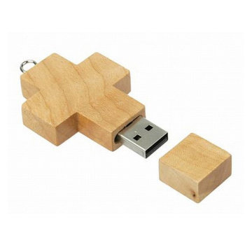 Cross Shape Wooden USB Stick with Logo engraved