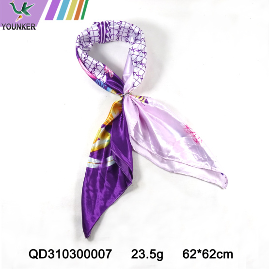PURPLE PRINTING SATIIN SCARF