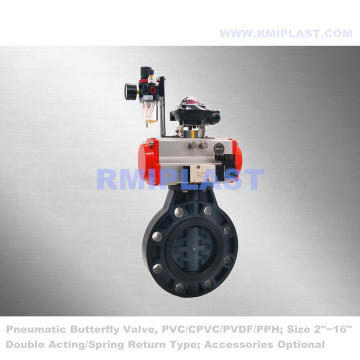 PPH Pneumatic Butterfly Valve Double Acting