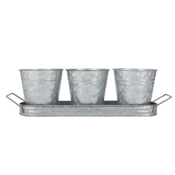Galvanized set 3 planter windowsill