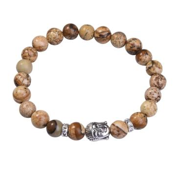 Natural Picture Jasper 8MM Gemstone Buddhism Prayer Beads Bracelets