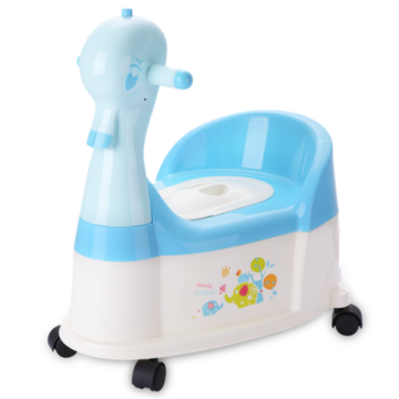 H8496 Duck Plastic Baby Potty Chair With Wheel