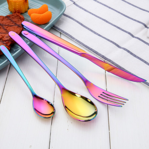 New Colorful Rainbow Eco-friendly Knife Fork Spoon