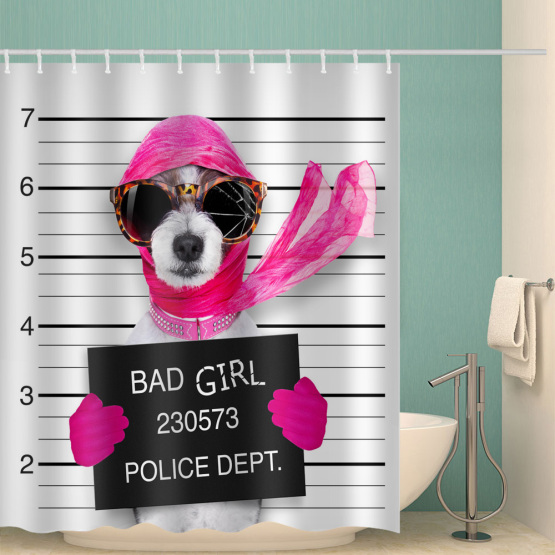 Dog Waterproof Shower Curtain Funny Animal Sunglasses Red Scarf Bathroom Decor