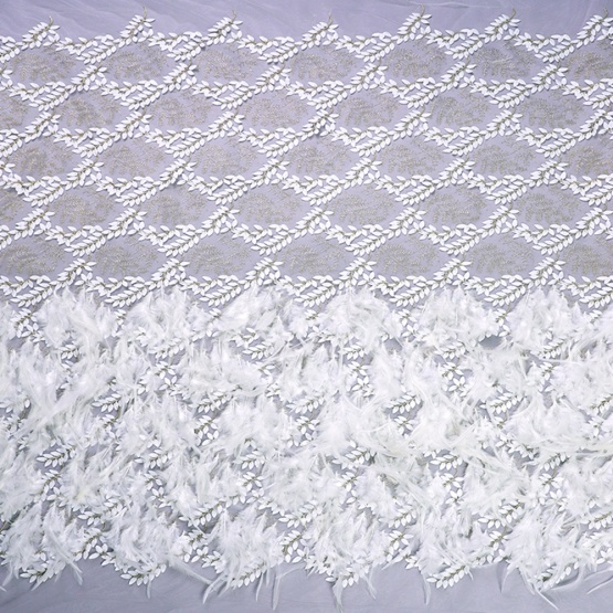 Ivory Feather Mesh Lace Handwork Fabric