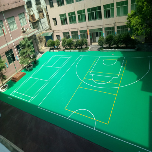 Backyard multi-sport game court floor