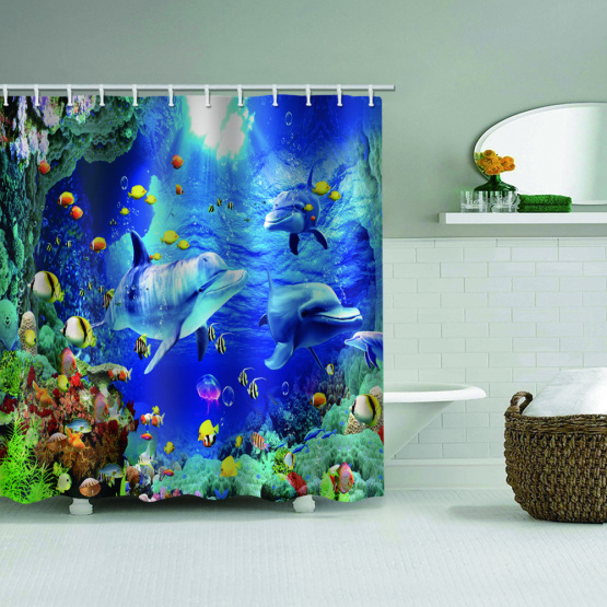 Dolphin Tropical Fish Waterproof Shower Curtain Animal Bathroom Decor