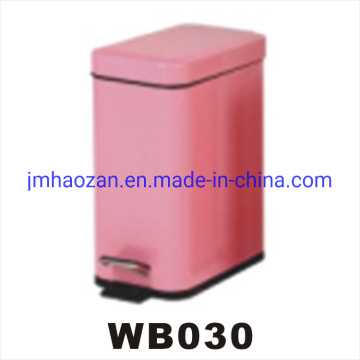 Stainless Steel Rectangle Dust Bin with Colored Body and Lid