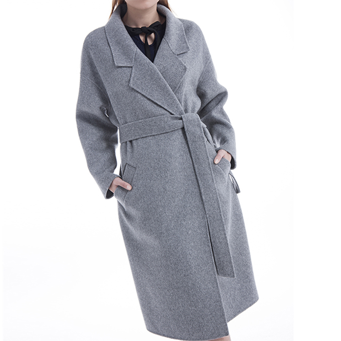 Background of the new grey cashmere overcoat
