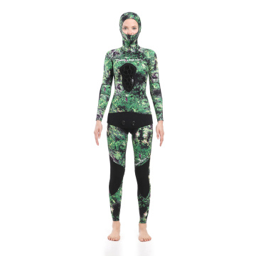 Seaskin Spearfishing Wetsuits with Green Camo Pattern