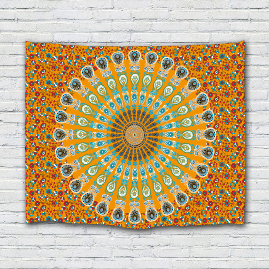 Bohemian Tapestry Wall Hanging Boho Mandala Indian Yellow Wall Tapestry Psychedelic for Livingroom Bedroom Dorm Home Decor