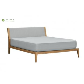 Solid Wood Frame Bed with Arch Fabric Cushion