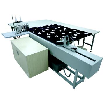 Mattress bingding working station with pulling system