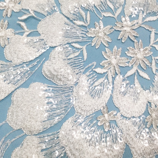 White Flower Sequin Embroidry Tulle Lace Fabric