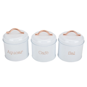 Set 3 White tea sugar coffee canister