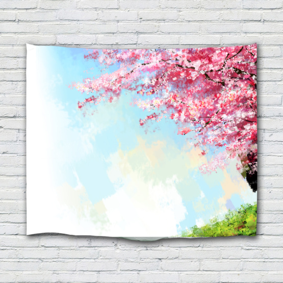 Sakura Tapestry Flower Cherry Blossoms Hand Painted Wall Hanging Nature Spring Wall Tapestry for Livingroom Bedroom Home Dorm De