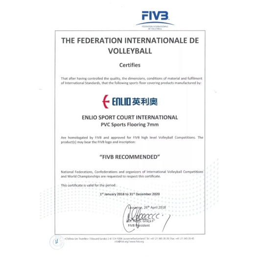 FIVB Recommended Vinyl Floor for Indoor Volleyball