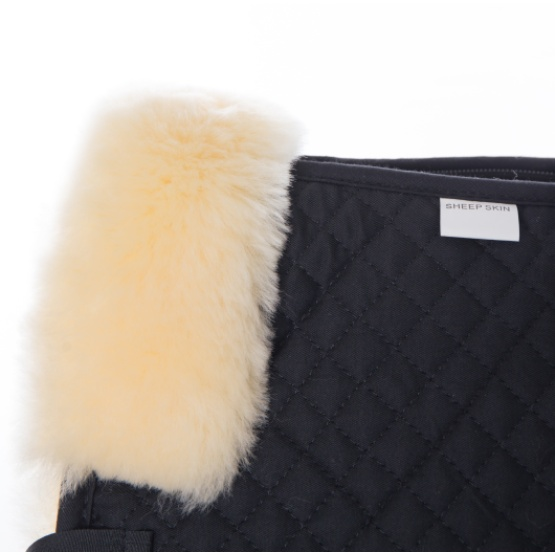 Black Quilt with Nature Sheepskin Half Saddle Pad