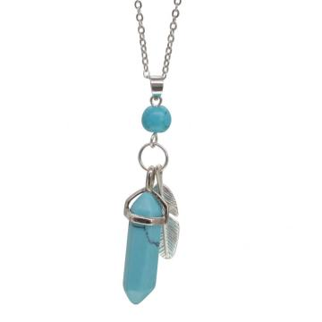 Turquoise Feather Hexagonal Prism Pendant Necklace