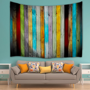 Vintage Planks Tapestry Wall Hanging Colorful Vertical Striped Wooden Board Wall Tapestry for Livingroom Bedroom Dorm Home Decor