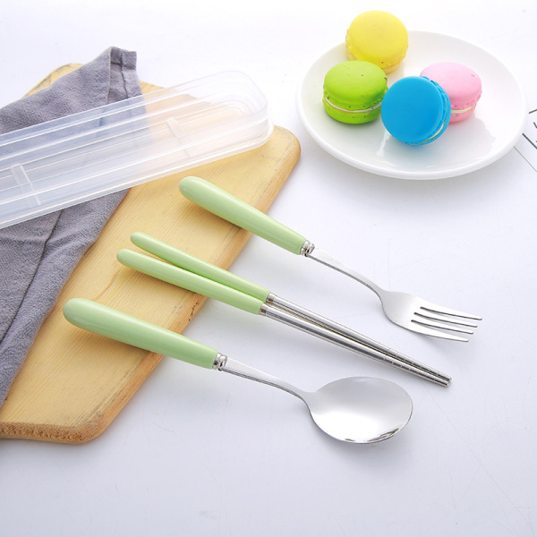 Travel Cutlery Set Ceramic Handle Spoon Fork Chopsticks