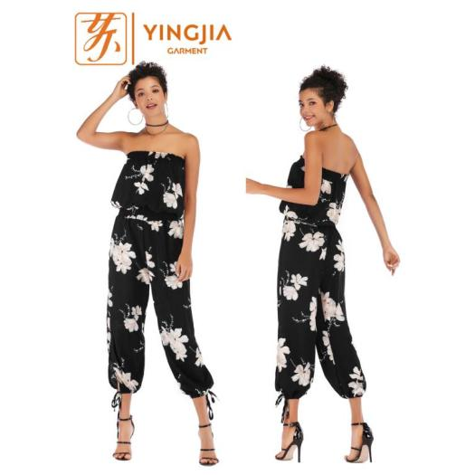 Women's Backless Chiffon Jumpsuit Casual Cropped Trousers