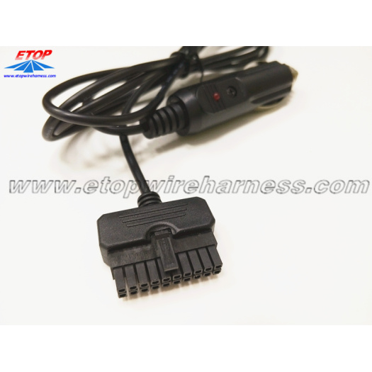 cigarette lighter cable to molded mini-fit connector