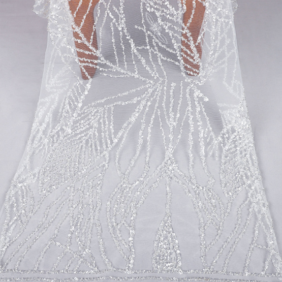 embroidery sequin lace wedding dress