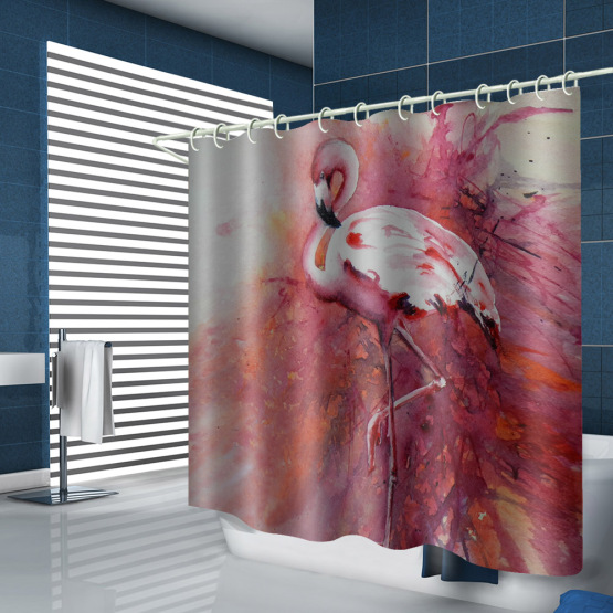Flamingo Waterproof Shower Curtain Animal Bird Bathroom Decor