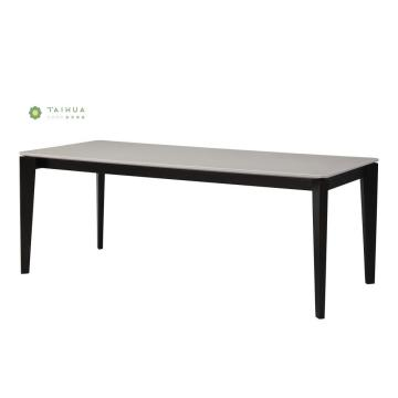 Solid Wood Frame Dining Table with Black Legs