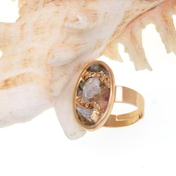 18k Gold Color Natural Oval Drusy Crystal Rings