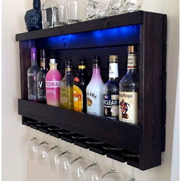 Rustic Wine Rack with Lights
